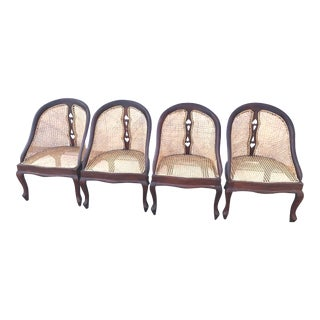 Vintage Cane Barrel Chairs - Set of 4 For Sale