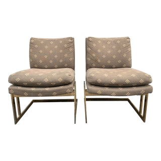 Mid Century Milo Baughman for Thayer Coggin Brass Club Chairs- A Pair For Sale