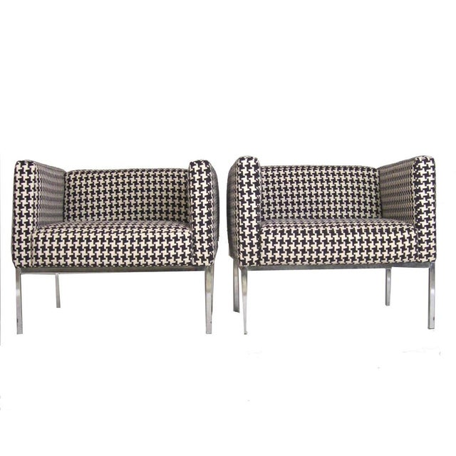 Houndstooth Chrome Club Chairs - A Pair - Image 1 of 6