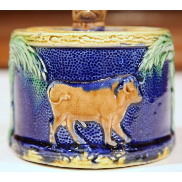 Ceramic 19th Century French Hand-Painted Barbotine Sugar Bowl With Lid and Cows For Sale - Image 7 of 9