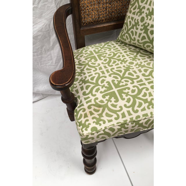 French Oak Cane Back Upholstered Chairs - A Pair - Image 5 of 11
