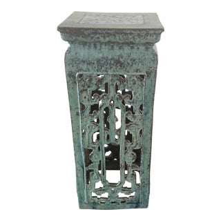 Vintage Turquoise and Cobalt Blue Garden Pedestal For Sale