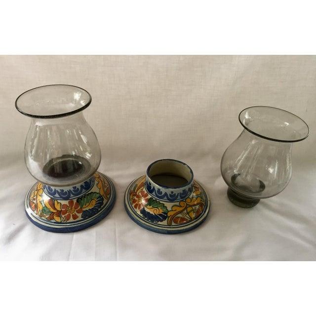 Pair of Rare Vintage Talavera Hurricane Lamps. Traditinal, 100% handmade and painted base, with original hand blown...
