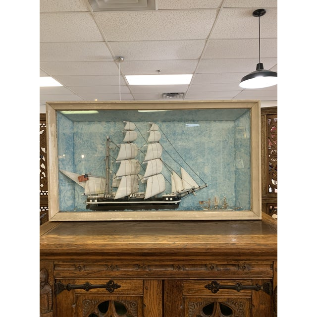 Glass Vintage Nautical Diorama Art Piece in Shadowbox For Sale - Image 7 of 10