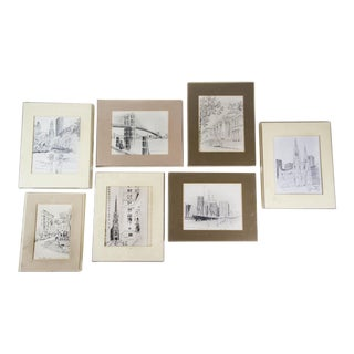 Bruce Armon New York Ink Sketch Prints - Set of 7
