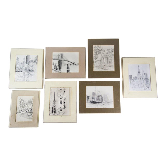Bruce Armon New York Ink Sketch Prints - Set of 7 For Sale