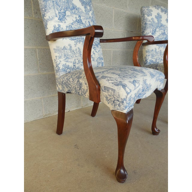 Blue Toile Arm Chairs - A Pair - Image 3 of 10
