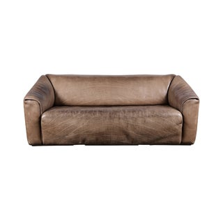 1960s Patinated Buffalo Leather De Sede Ds-47 Extendable 3-Seat Sofa For Sale