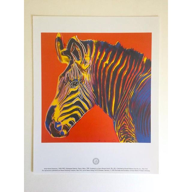 "1990s Andy Warhol Estate Rare Vintage 1992 Endangered Species Collector's Pop Art Lithograph Print "" Grevy's Zebra "" 1983 For Sale - Image 5 of 10"