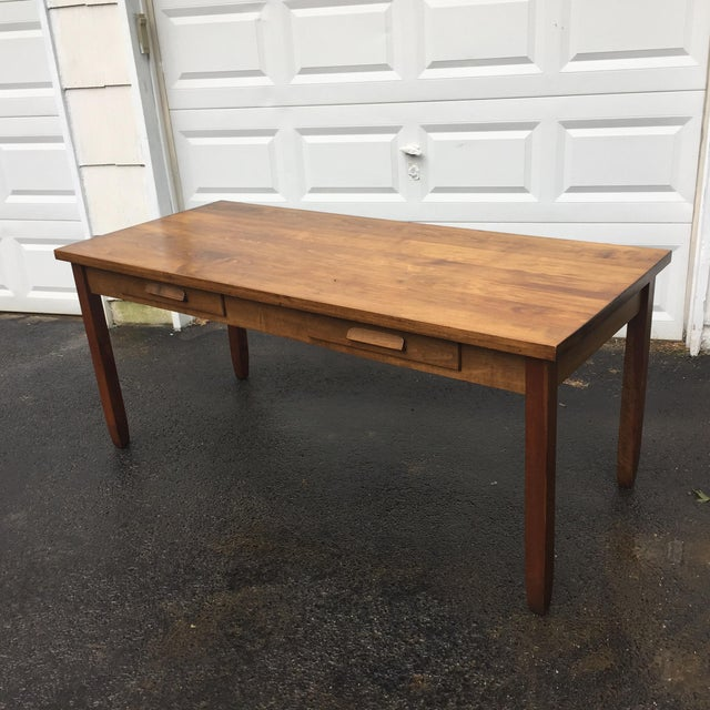 Large Vintage Modern 2-Drawer Desk - Image 5 of 11