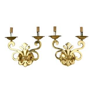 Vintage Italian Fleur De Lis Style Solid Brass Wall Sconces - a Pair For Sale