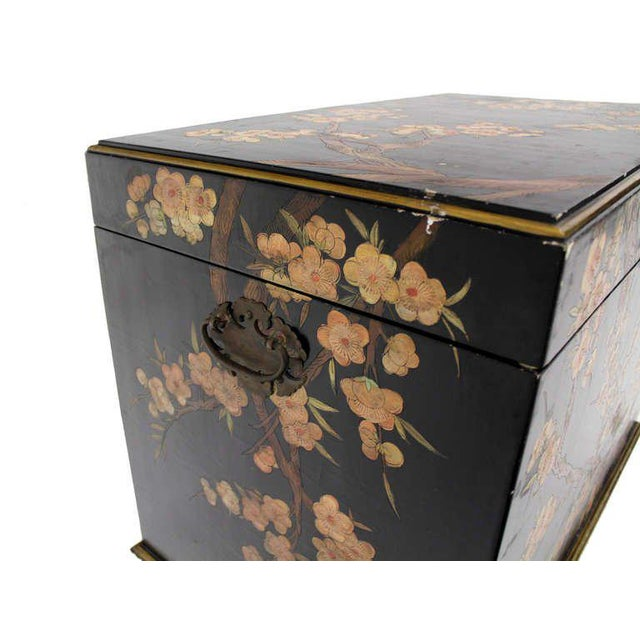 Vintage Mid Century Oriental Hand Painted Black Lacquer Bar Chest For Sale - Image 4 of 10