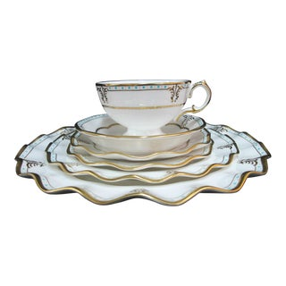 Royal Crown Derby English Lombardy Bone China Cup, Saucer and Plate - 6 Piece Set For Sale