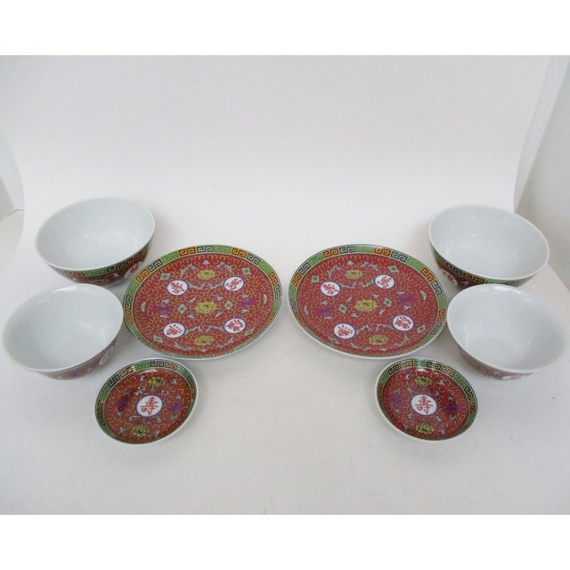 Red Mun Shou Dinnerware - Set of 8 For Sale - Image 4 of 7