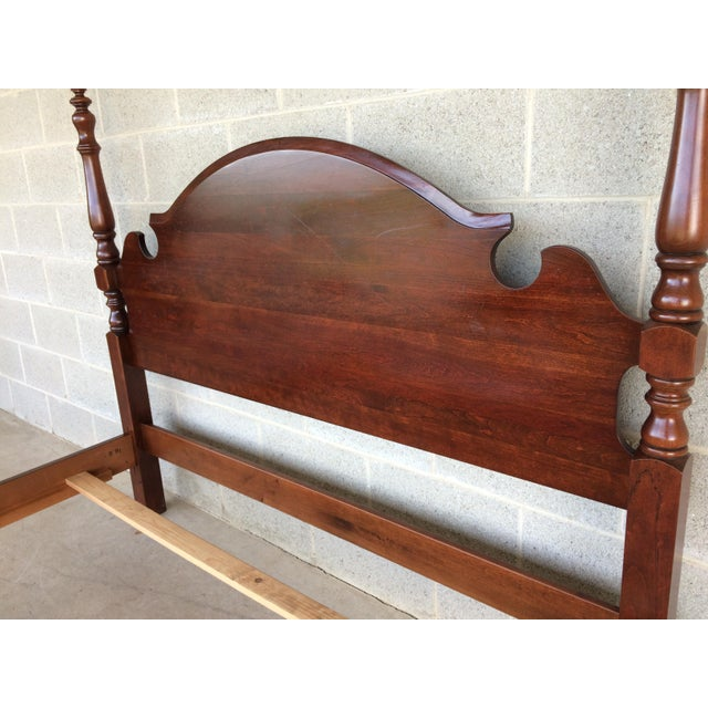 Cherry Wood Pennsylvania House Chippendale Style Queen Poster Bed For Sale - Image 7 of 10