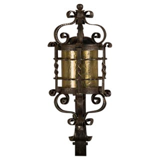 Forged Iron Wall Lantern, Glass Shade, France c. 1940 For Sale