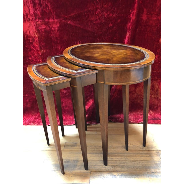 Gold 1950 Mid-Century Modern Weiman Furniture Company Leather Top Mahogany Nesting Tables - Set of 3 For Sale - Image 8 of 8