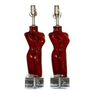 Venus Murano Glass Table Lamps Red Copper For Sale