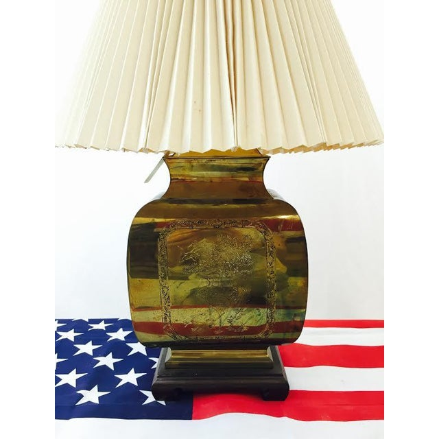 Asian Vintage Asian Style Etched Brass Lamp For Sale - Image 3 of 6