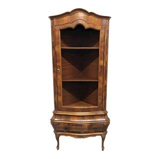 Italian Olivewood Corner Cabinet For Sale