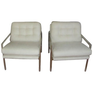 1970s Vintage Milo Baughman Aluminium Armchairs- A Pair For Sale
