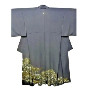 Early 20th Century Japanese Kimono Silk Gray White Hand Embroidered Nature Flowers Ducks Wisteria Garden For Sale