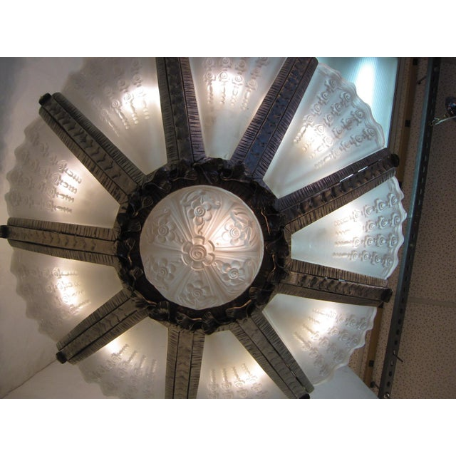 Metal Massive Verrerie Belge Art Deco Frosted Glass Chandelier, Stamped F. Carion For Sale - Image 7 of 13