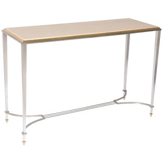 1980s Neoclassical Satin Steel Brass & Travertine Console Table For Sale