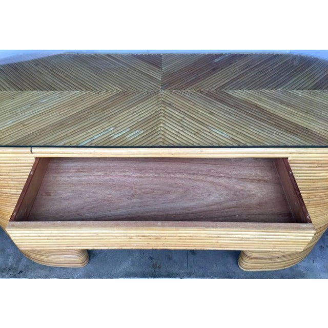 1970s Paul Frankl Style Mid-Century Modern Sculptural Oval Reed Bamboo Desk Console For Sale - Image 5 of 10