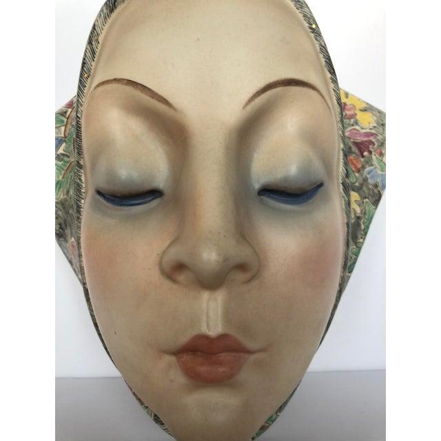 Art Deco Helen Koenig Scavini Lenci Torino Polychrome Pottery Mask For Sale - Image 3 of 8