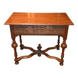 19th Century Carved Anglo-Indian Wooden Side Table For Sale