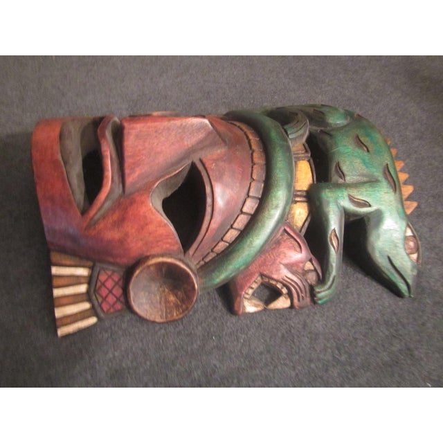Vintage Tiki Mask Sculpture For Sale - Image 4 of 10