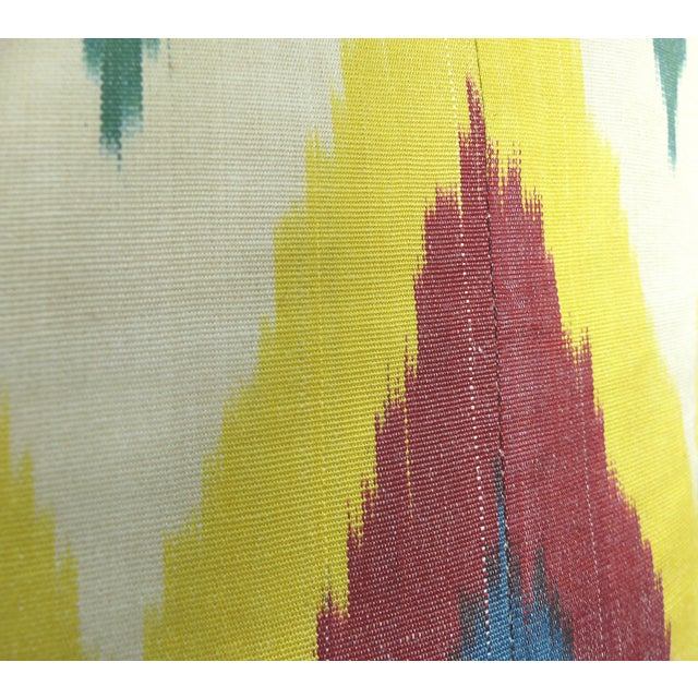 Colorful Woven Silk Ikat Pillow - Image 4 of 6