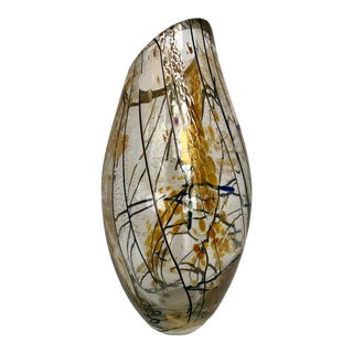 1990s Art Glass Vase, Signed For Sale