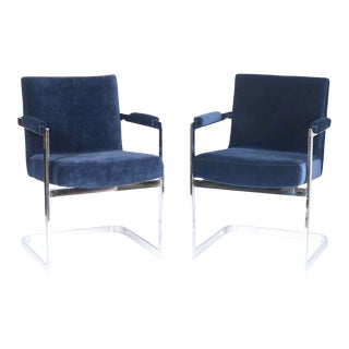 Milo Baughman for Thayer Coggin Armchairs in Chrome and Blue Velvet - a Pair For Sale