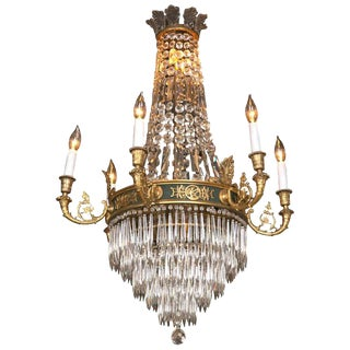 Caldwell Feather Crown Bronze & Crystal Chandelier For Sale