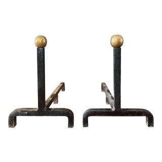 Mid Century Modern Wrought Iron and Brass Andirons - a Pair For Sale