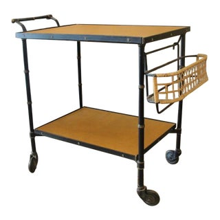 Jacques Adnet Stitched Leather Bar Cart