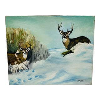 1950s Vintage Pair of Elks in the Snow Signed Oil Painting For Sale