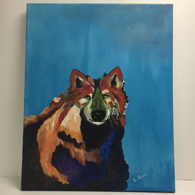 L. Burris Abstract Wolf Acrylic Painting - Image 2 of 6