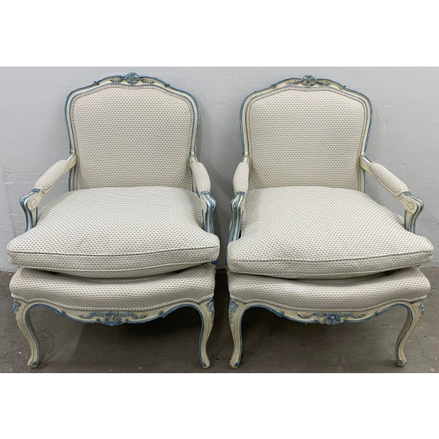 Pair of French Style Carved & Upholstered Arm Chairs C.1940s For Sale - Image 10 of 10
