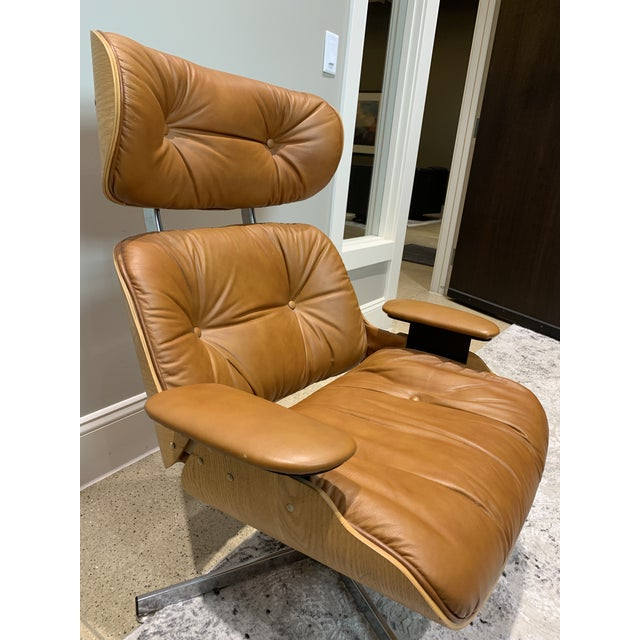 1960s Vintage Mid Century Selig Manufacturing Company Chair & Ottoman For Sale - Image 5 of 13