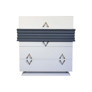 White & Gray Lacquered Highboy Dresser