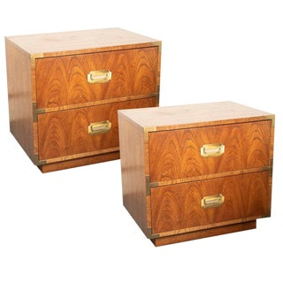 Mid-Century Campaign Style Oak Nightstands by Dixie-a Pair For Sale