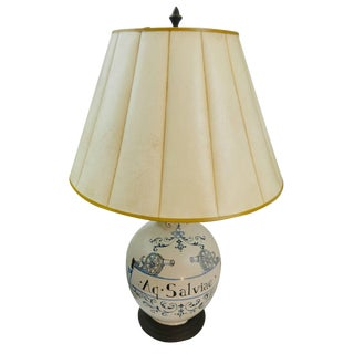 20th Century French Hand Painted Table Lamp on a Wood Base For Sale