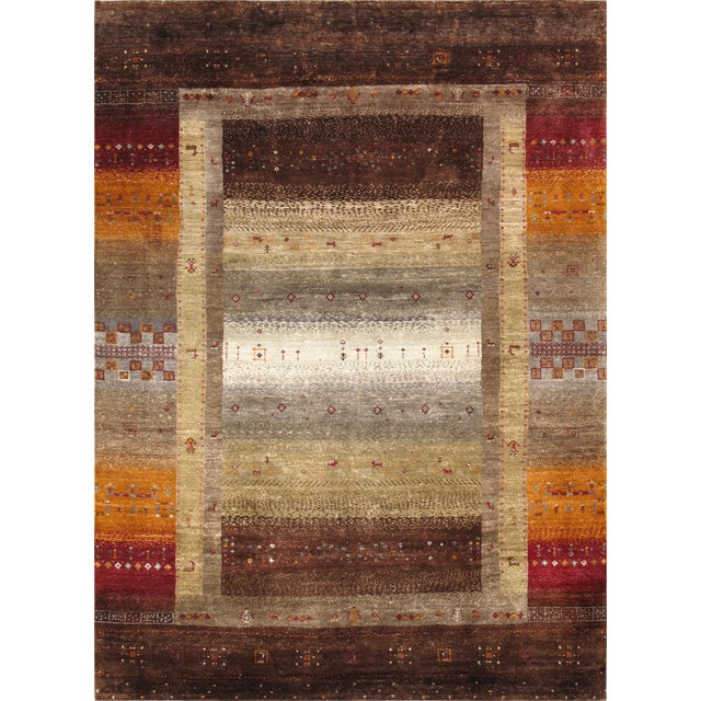 """Tribal Hand-Knotted Shiraz Wool Rug - 5'7"""" X 7'8"""" - Image 1 of 4"""