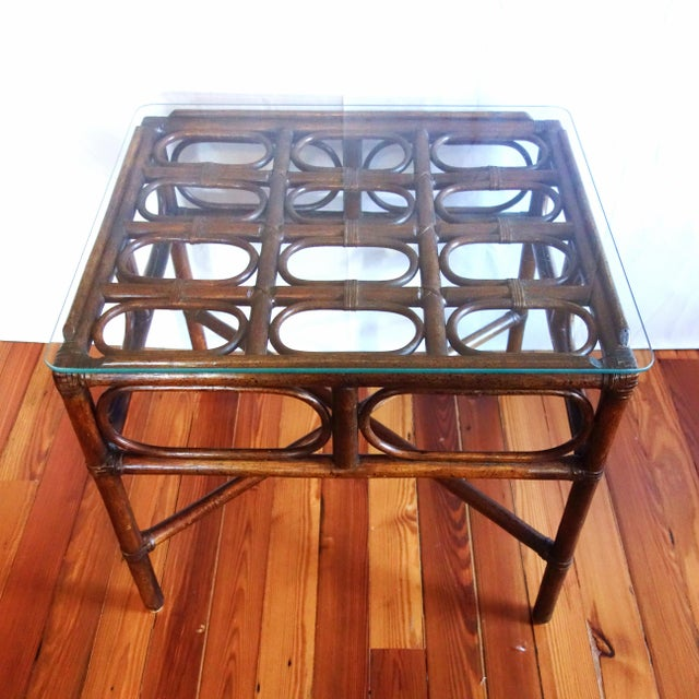 Vintage Rattan Side Table With Glass Top For Sale - Image 4 of 6