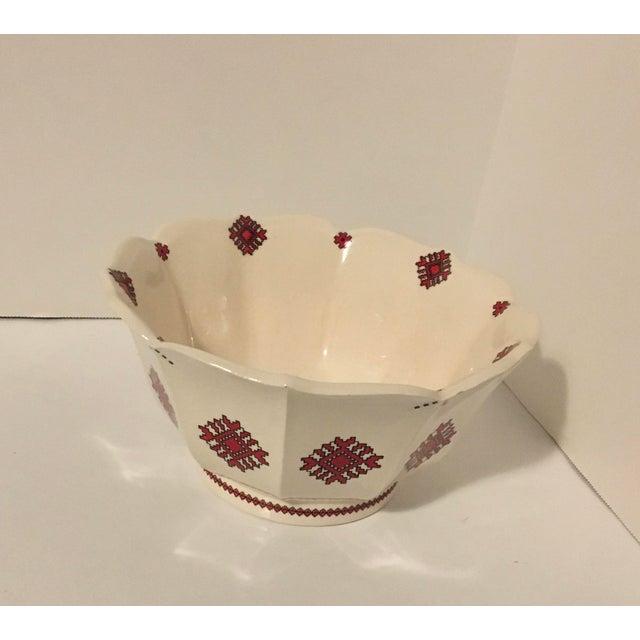 Mid 20th Century Mid 20th Century Ukrainian Folk Art Pottery Bowl Needlepoint Pattern For Sale In New York - Image 6 of 6
