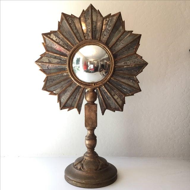 Antique Sunburst Convex Mirror Stand - Image 2 of 3