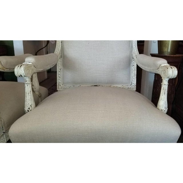White Louis XVI Style Pair of Painted Armchairs For Sale - Image 8 of 12